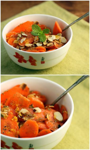 Sliced carrot and almond salad with roasted lemon, basil and mint dre ...