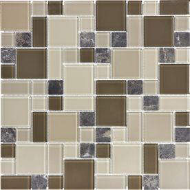 Cappuccino Mixed Material Mosaic Wall Tile Common 12 In