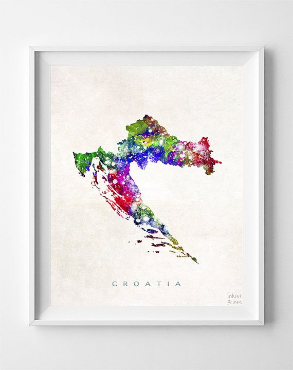 Croatia Map Print Zagreb Print Croatia Poster by InkistPrints