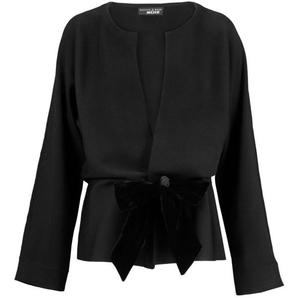 Noir Sachin & Babi - Amber Velvet-trimmed Stretch-knit Jacket ($158) ❤ liked on Polyvore featuring outerwear, jackets, black, evening jackets, cocktail jackets, embroidered jacket and party jackets