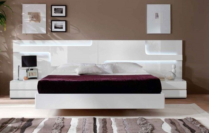 Furniture. Contemporary White Bedroom Furniture Adorable Set Design Ideas With Wooden Bed Frames And Large Wide Headboard Also Purple Color Covered Bedding Sheets Pillows Mounted Bedside Tables Beige Wall Paint Plush Carpet Solid Wood Bedroom Furniture , Great Design Ideas Of White Bedroom Furniture Set