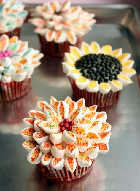 Petals are mini-marshmallows cut in half and dipped in sugar crystals