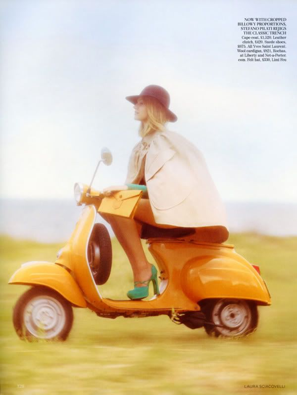 Tangerine Vespa.Shoes, Orange,  Velocipede,  Trike, Capes, Scooters, Vogue Uk, The Dreamer, Wasps