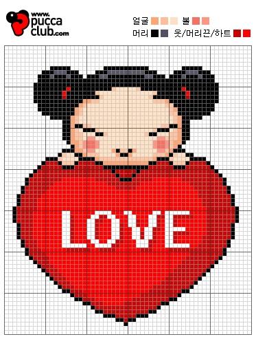 Free Pucca Hama Perler Bead Pattern or Cross Stitch Chart