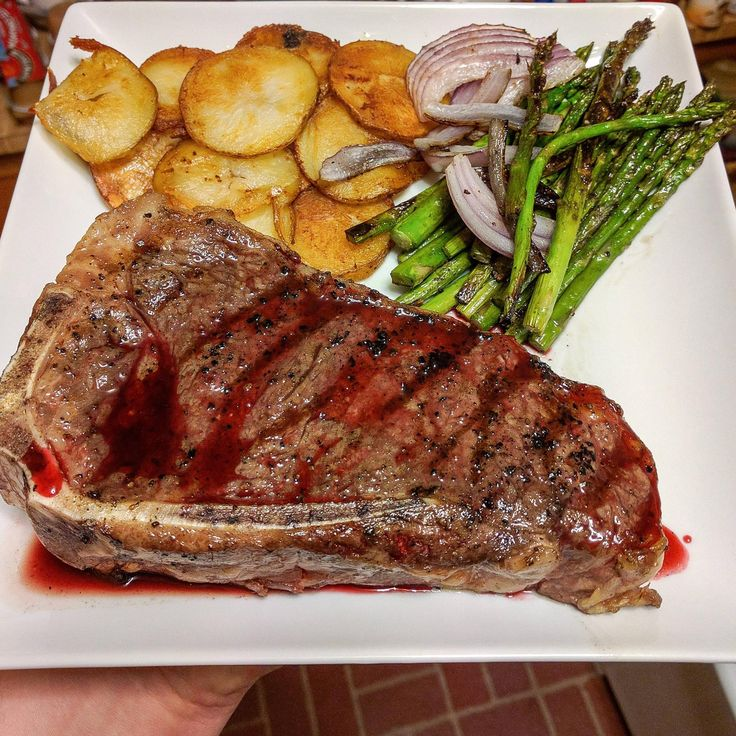 #manikinhead #food USDA Prime Bone-In NY Strip with a blackberry gastrique