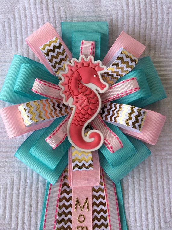 Seahorse Baby Shower Corsage Beach Baby Shower by iogtreasures