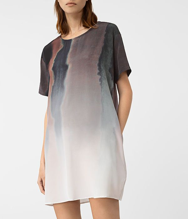 Womens Cora Cosmos Silk Dress (Brown) - product_image_alt_text_2