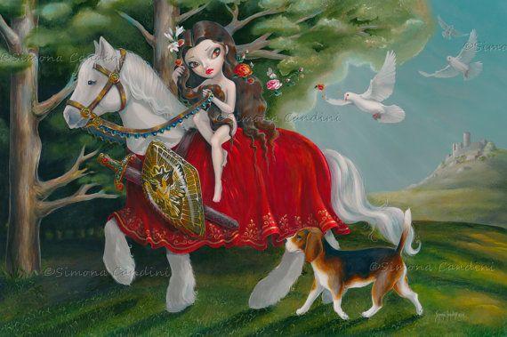 Lady Godiva Simona Candini Fairytale impression signée fée fantaisie grands yeux Pop surréaliste Lowbrow Art cheval chien