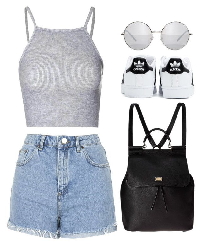 """""""Cool Style"""" by maevaxstyle ❤ liked on Polyvore featuring Topshop, Glamorous, Dolce&Gabbana and adidas"""