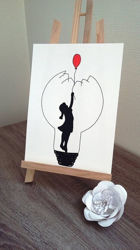 """Poster Illustration black and white bulb """"red balloon"""""""