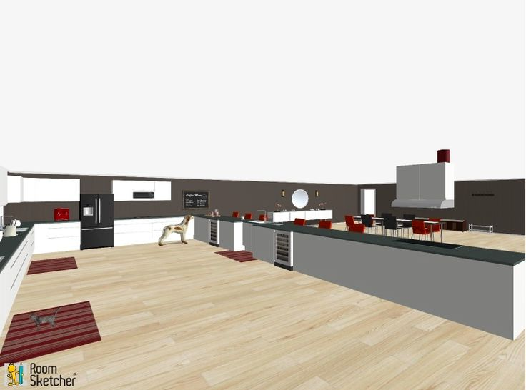 Another angle of the kitchen, with the dinning room in the back