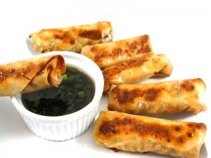 Panda Express Egg Rolls Made Skinny, Yum! These are baked not fried! Each roll has 104 calories, just 1 gram of fat and 3 Weight Watchers POINTS PLUS. http://www.skinnykitchen.com/recipes/panda-express-egg-rolls-made-skinny-yum/
