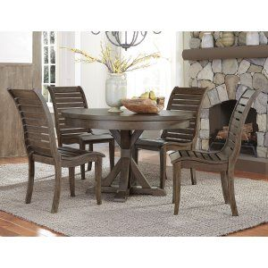 Liberty Furniture Industries Bayside Crossing 5 Piece Slat Back Round Dining Table Set