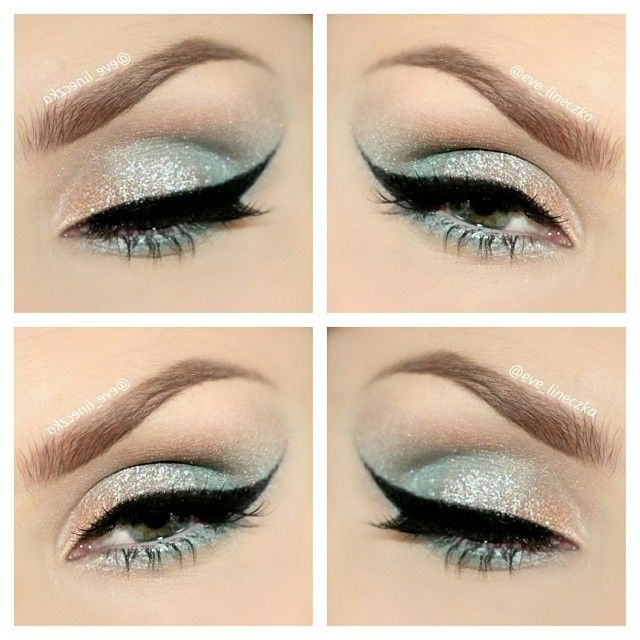 Shimmer ice blue eyeshadow look