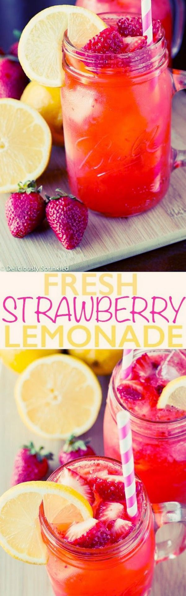 Fresh Strawberry Lemonade | *Subtitute sugar for honey!* This Fresh Strawberry Lemonade is a super easy, quick, and refreshing summer drink. As soon as the weather starts to get warm, I'm instantly craving a nice cold glass of this delicious strawberry lemonade. via: @delicisprinkled