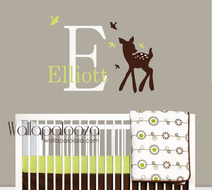 Baby deer and birds wall decal  Custom name by WallapaloozaDecals, $40.00 would go perfect with his bedding