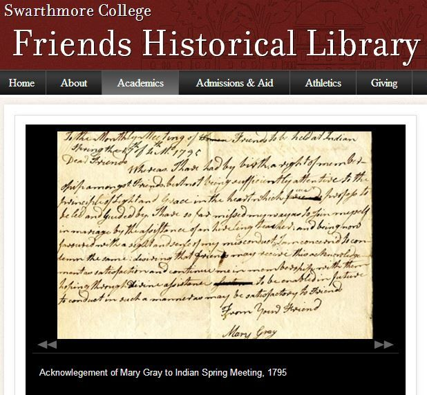 Friends Historical Library - Swarthmore College - http://www.swarthmore.edu/academics/friends-historical-library.xml
