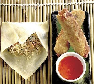 Vegetarian Spring Rolls: These tasty spring rolls can be made in advance and quickly reheated in the oven.