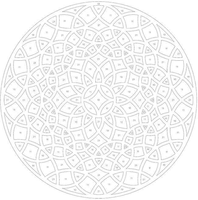 Geometric ColorByNumber Mandala Coloring pages colouring adult detailed advanced printable Kleuren voor volwassenen coloriage pour adulte anti-stress kleurplaat voor volwassenen http://www.doverpublications.com/zb/samples/79797x/sample6c.html