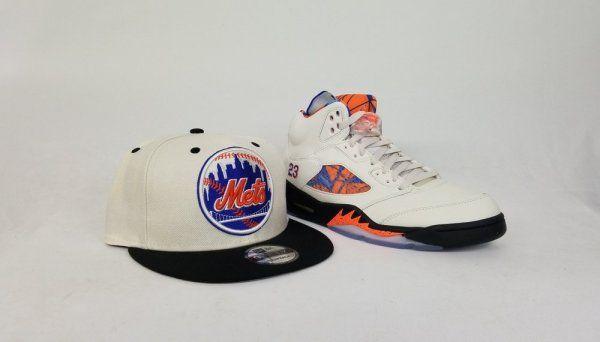 fecbf50d1635a Matching New Era 9Fifty snapback New York Mets Hat for Jordan 5 Orange Peel  Barcelona