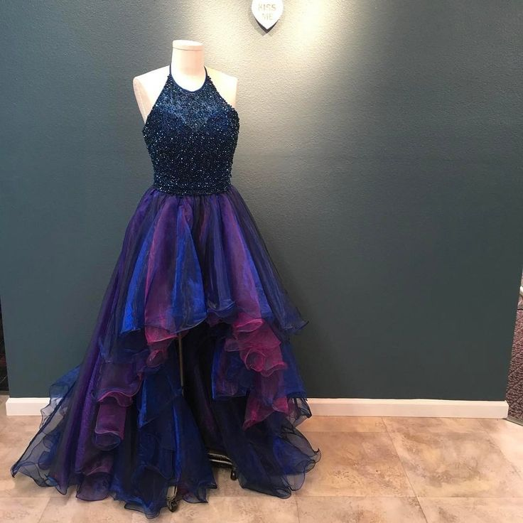 Stunning Beading Halter Organza Ruffles High Low Prom Dresses 2017 Ombre Dress
