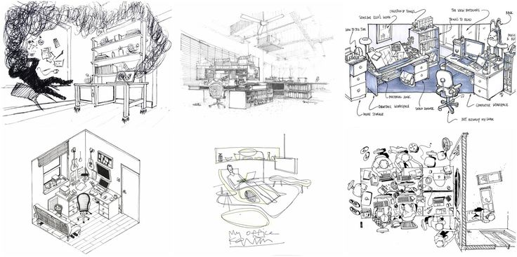Gallery of 42 Sketches, Drawings and Diagrams of Desks and Architecture Workspaces - 1