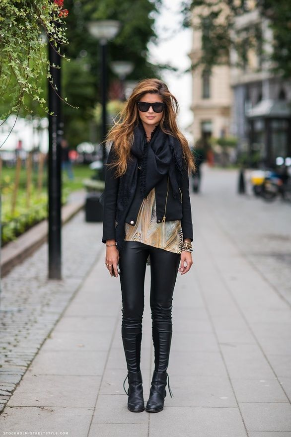 leather jacket, pants and boots