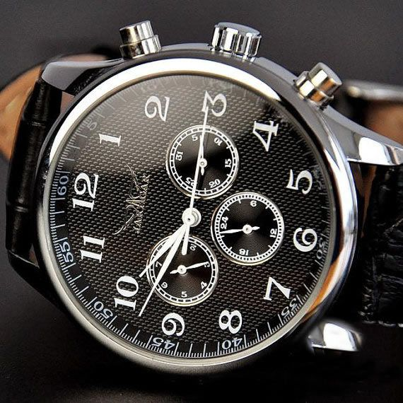 Stan vintage watches — Men's Watches, Black Leather Automatic Mechanical Watch
