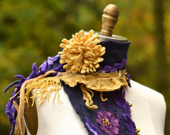 Cashmere Scarf/ Shawl fiber art scarf OOAK unique fantasy