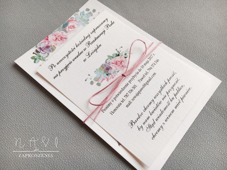 Zaproszenie ślubne i pastelowe sukulenty  #zaproszenie #zaproszenia #sukulent #eleganckie #pastel #kwiaty #pastelowe #sznurekbawełniany #sznurek #rozowy
