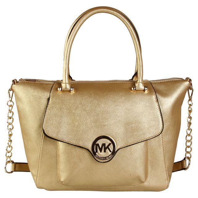 Michael Kors Fulton Leather Large Gold Satchels Leather Tote handles  Removable chain and leather shoulder strap Top zip with front flap close  Inside zip, ...