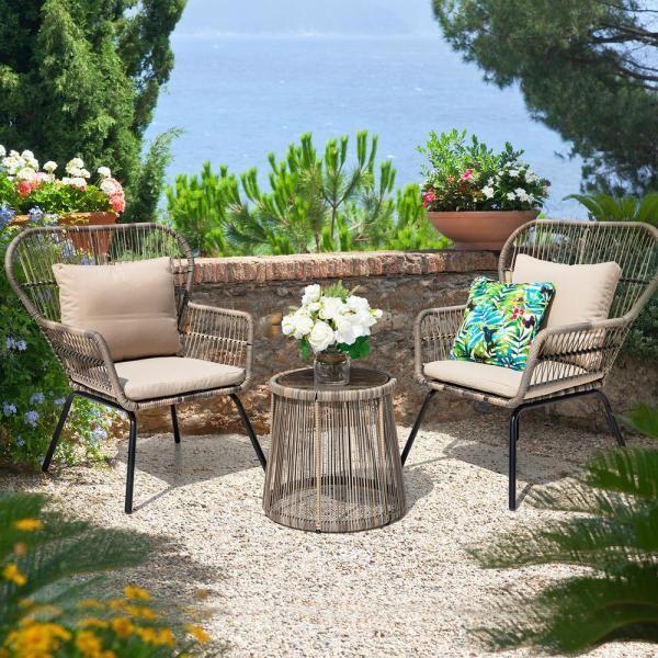 Nuu Garden 3 Piece Wicker Patio, 3 Piece Wicker Patio Conversation Set With Beige Cushions