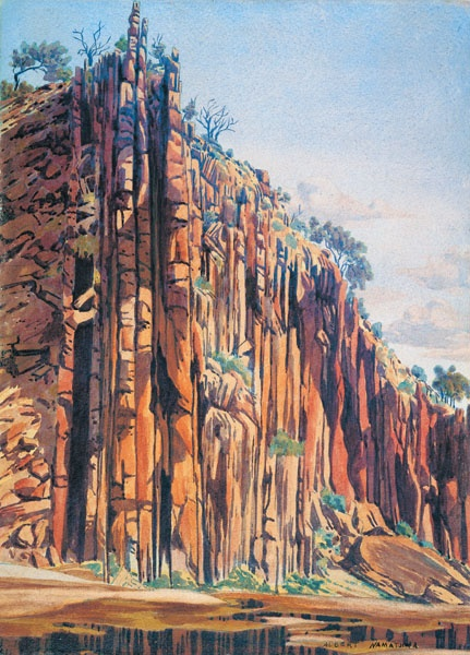Albert Namatjira, an initiated Western Aranda stock man was tutored to paint with watercolour by Rex Batterbee while he was at the Hermannsburg Mission in the 1950's.