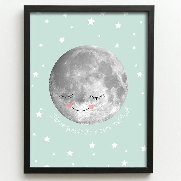 Printable poster I love you to the moon www.opdezoldervantantesofie.nl