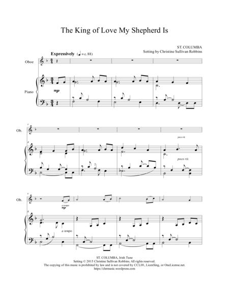 The King Of Love My Shepherd Is A Gentle Oboe And Piano Sheet Music Arrangement