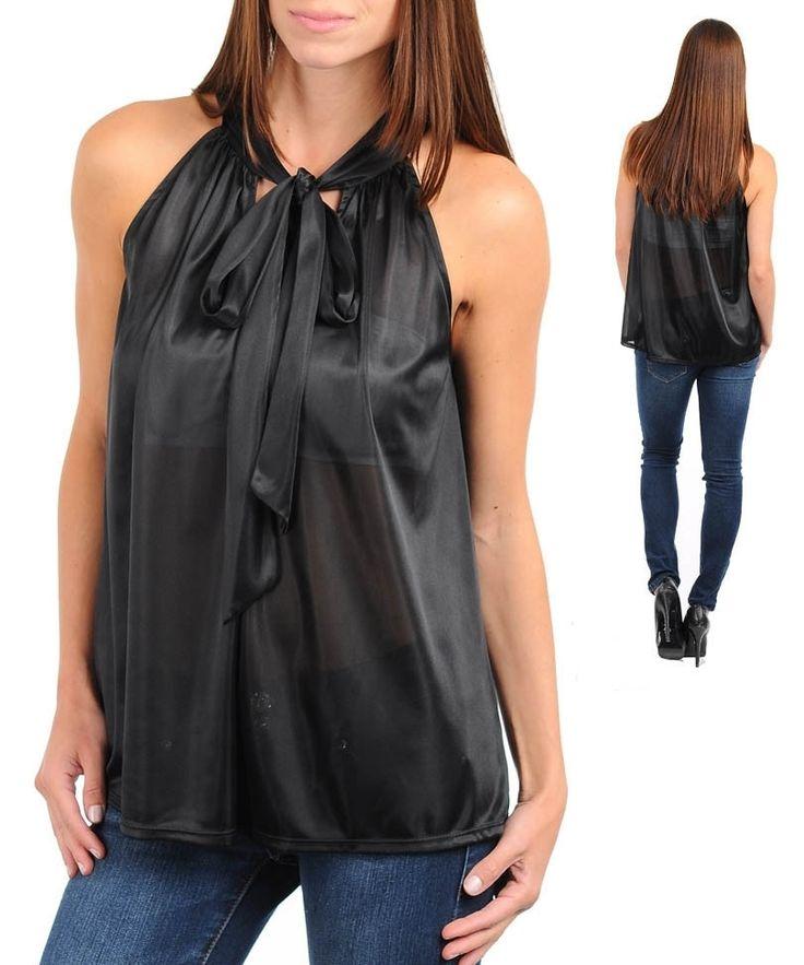 Black Sexy Career Silk Satin Halter Blouse Shirt Top