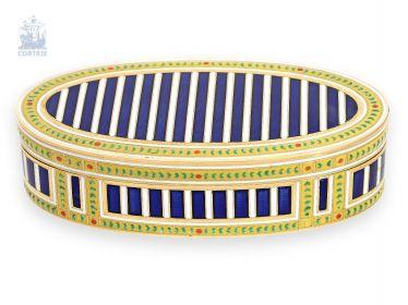 Schnupftabakdose: exquisite, extrem seltene französische Gold-Emaille-Schnupftabakdose,