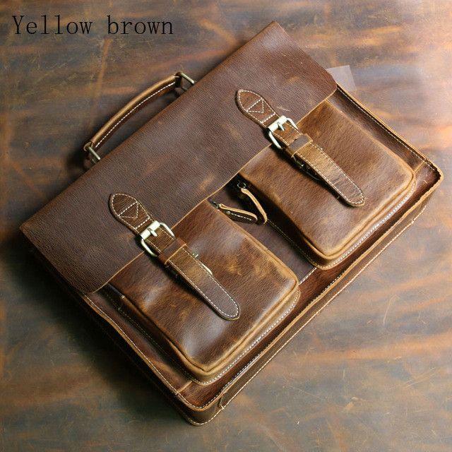 Top Grade Male Men's Vintage Real Crazy Horse Leather Briefcase Messenger Shoulder Portfolio Laptop Bag Case Handbag 1061