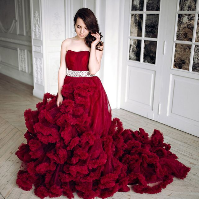 2016 luxury burgundy red empire wedding dresses plus size for Burgundy wedding dresses plus size