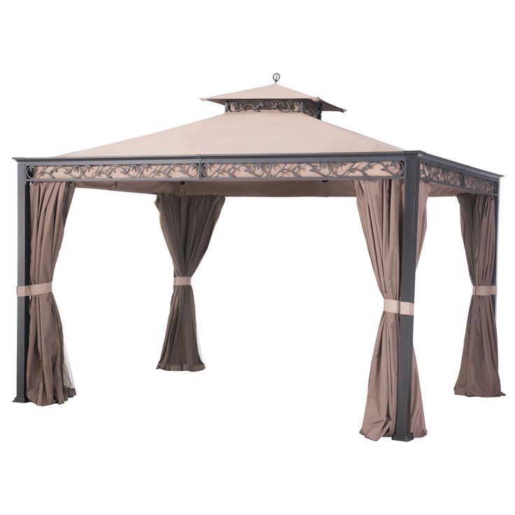 Sunjoy Briana Black Steel Rectangle Screen Included Permanent Gazebo (Exterior: 10-ft x 12-ft; Foundation: 12-ft x 10-ft)