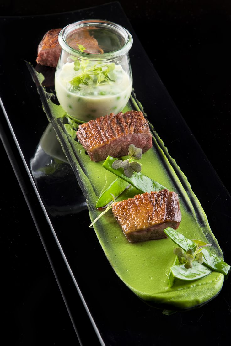 Rosé Duck Breast with Green Pea Variations from the Stradivari Restaurant