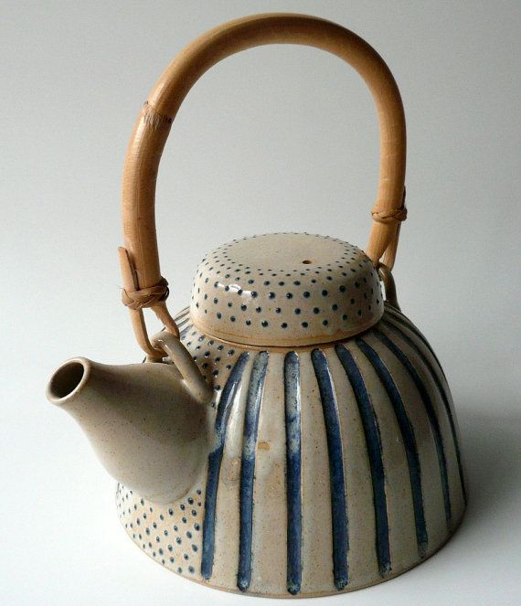 SPECIAL OFFER on Teapot in Sand and Blue Dots by CrowWhitePottery, $99.00