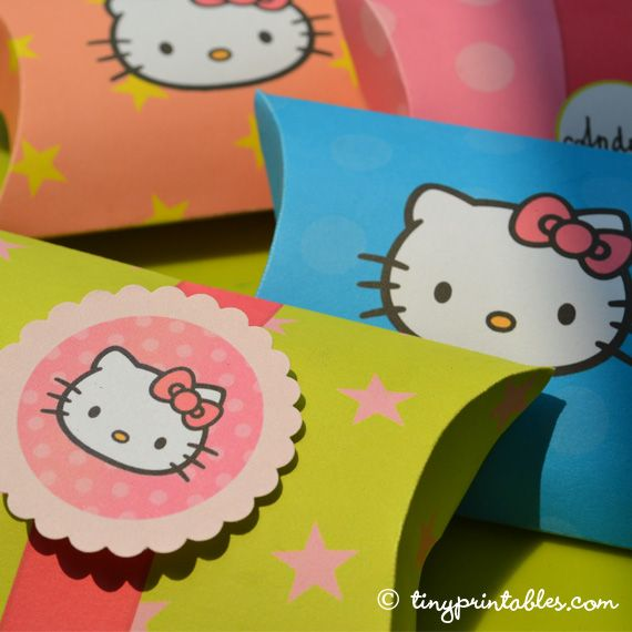 Click here for more on Hello Kitty party printables - favor boxes