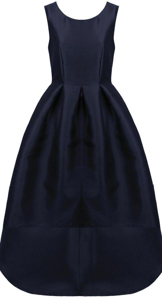 Granatowa sukienka rozkloszowana z asymetrycznym przodem