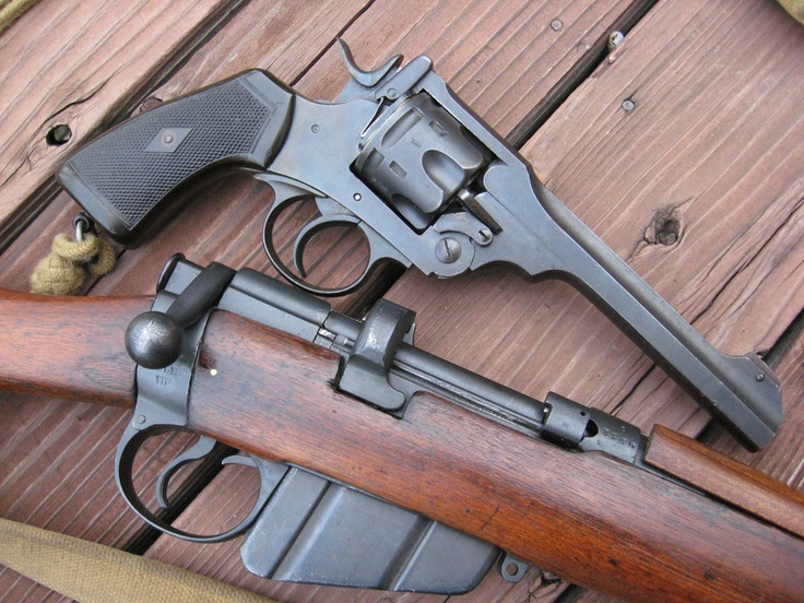 Webley Revolver and Lee Enfield Rifle,British WWII Guns.
