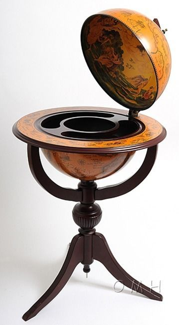 Old World Globe Hidden Bar on Pedestal l Beach Home Furniture l www.DreamBuildersOBX.com