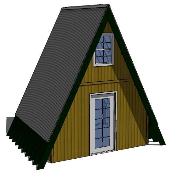 Tiny House Plans 10'x12' AFrame exterior shell by