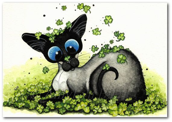 Title: Covered in Clover. Painted & created by AmyLyn Bihrle www.amylyn-bihrle.com All rights reserved to her. These images or any portion thereof may not be reproduced or used in any manner. | #stpatricksday #greencolour #shamrocks #siamesecats #occasionallygifts #art |