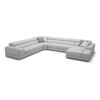 Bergamo Extended Sectional Leather Modern Sofa Grey