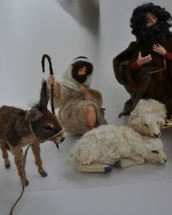 Needle felted Nativity Waldorf Good shepherd. by darialvovsky